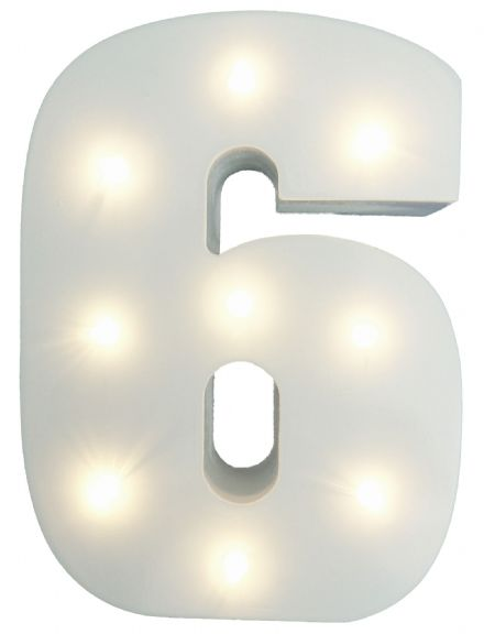 White Wooden Light Up Number 6
